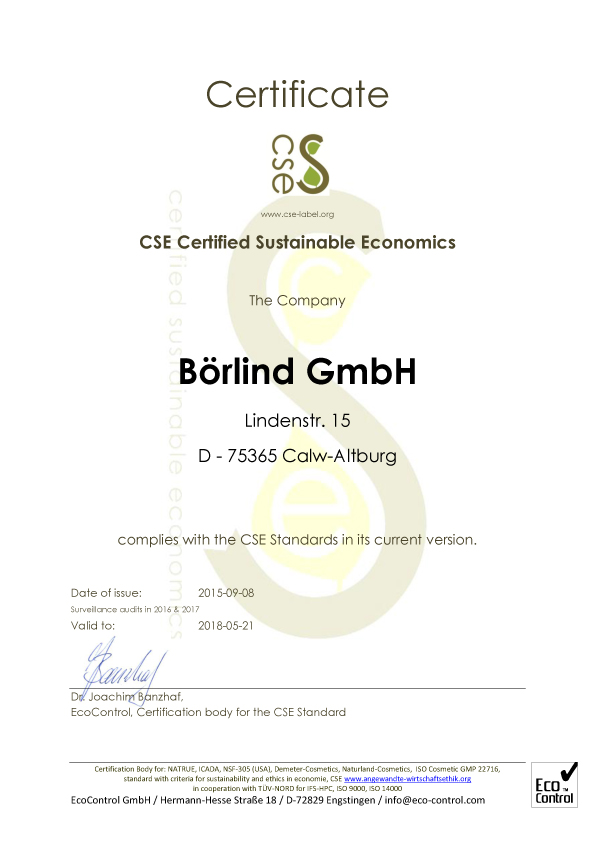 Certificate: CSE – Certified Sustainable Economics