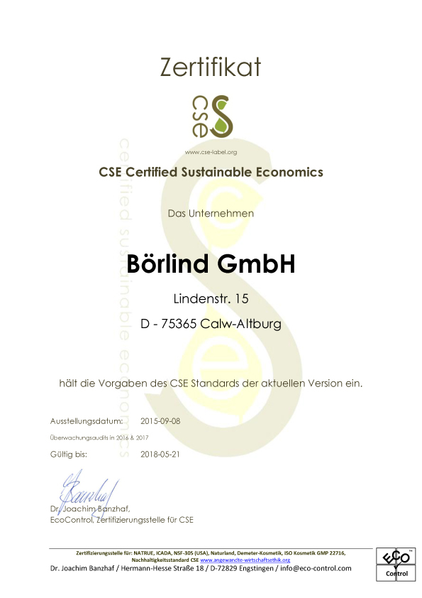 Zertifikat: CSE – Certified Sustainable Economics