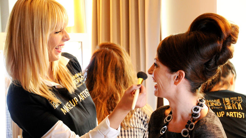Presenter Sabrina Staubitz in the Börlind Beauty Lounge