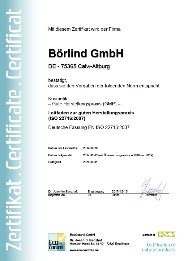 Certificaat: Cosmetica – Good Manufacturing Practices (GMP) – Richtlijnen voor Good Manufacturing Practices (ISO 22716:2007)