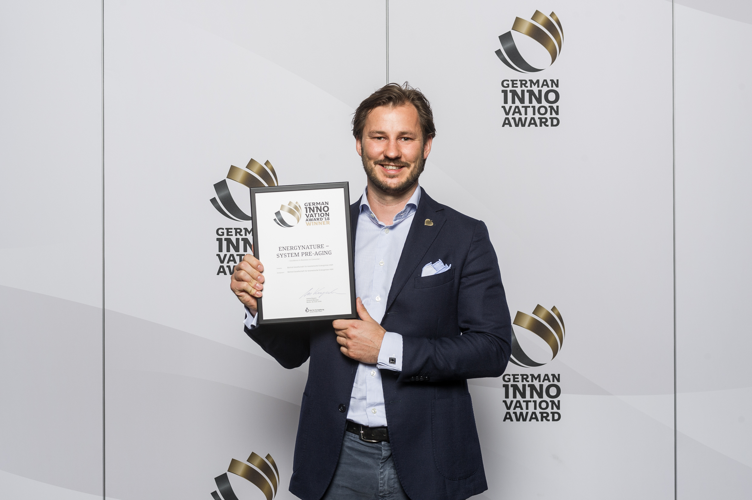 Nicolas Lindner bei der Verleihung des German Innovation Awards
